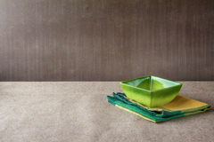 Bowl napkin grunge background Stock Photos