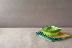 Bowl napkin grunge background empty Stock Images