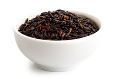 Bowl of Nerone black long grain rice. royalty free stock images