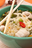 Bowl of noodle and chicken soup Stock Images