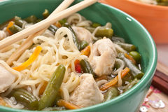 Bowl of noodle chicken soup Royalty Free Stock Images