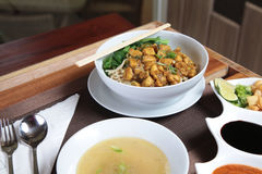 A bowl of noodle Chinese food. Photograph of noodle Chinese food on the restaurant table Royalty Free Stock Photos