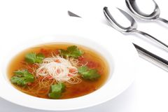 Bowl of noodle soup with beef broth Stock Photos