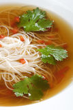 Bowl of noodle soup with beef broth Stock Photography