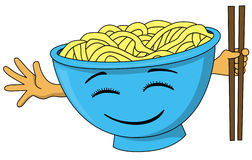 Bowl of noodles. Cartoon bowl of noodles with a happy face and a hand holding chopsticks royalty free illustration