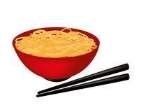 Bowl of noodles. Bowl of noodle soup with black chopsticks royalty free illustration