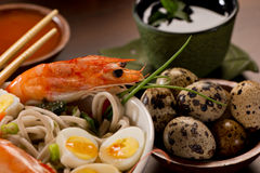 Bowl of Noodles with seafood Royalty Free Stock Images