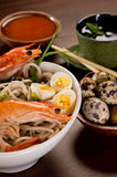 Bowl of Noodles with seafood Stock Photography