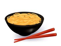 Bowl of noodles soup. With chopsticks Stock Photography