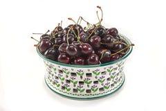 Bowl of Northwestern Bing Cherries. Bowl of fresh red cherries.  Isolated on white Royalty Free Stock Photos