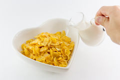 A bowl of nutritious and delicious corn flake cereal Stock Images