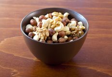 Bowl with nuts. Bowl with four sorts of nuts Royalty Free Stock Photo