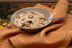 Bowl with nuts and muesli Royalty Free Stock Photography