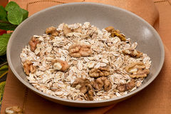 Bowl with nuts and muesli Royalty Free Stock Images