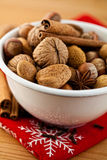 Bowl of nuts and spices for christmas cake Royalty Free Stock Photos