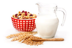 Bowl of oat flake, and fresh milk. On white background. health and diet concept Stock Photography