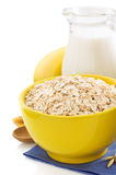 Bowl of oat flake on white Stock Photography