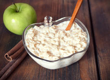 Oatmeal with apples. Bowl of oatmeal with apples Royalty Free Stock Photo