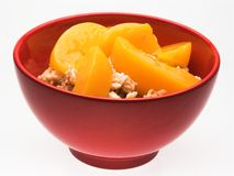 Bowl of Oatmeal and Peaches Stock Photo