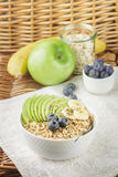Bowl of oatmeal porridge with green Apple, banana, blueberries, honey and Chia seeds Stock Photography