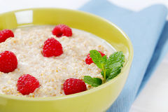 Bowl of oatmeal porridge Royalty Free Stock Photos