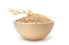 Bowl of Oats. A bowl of whole oats isolated on a white background stock photography
