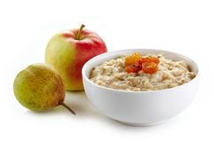 Bowl of oats porridge Stock Photos