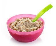 Bowl of oats porridge Royalty Free Stock Photos