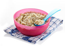 Bowl of oats porridge Stock Images