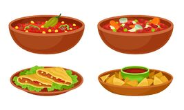 Free Bowl Of Baked Beans With Vegetables And Tacos Vector Set Stock Images - 178420784