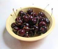 Bowl Of Black Cherries Stock Image