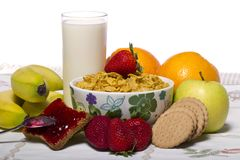 Bowl Of Cereals With Fruit And Milk Royalty Free Stock Photography