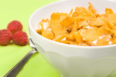 Bowl Of Corn Flakes With Raspberry Royalty Free Stock Photography