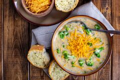 Free Bowl Of Creamy Broccoli Cheddar Soup Royalty Free Stock Photo - 170384495