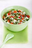 Bowl Of Curd With Tomato And Parsley Stock Images