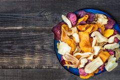 Bowl Of Healthy Snack From Vegetable Chips, Crisps Stock Image
