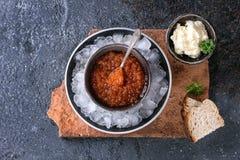 Bowl Of Red Caviar Stock Photos