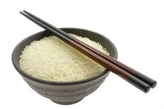 Bowl Of Rice With Chopsticks Stock Photos