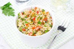 Bowl Of Salad With Bulgur, Zucchini, Tomatoes And Parsley Stock Photography