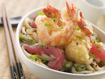 Bowl Of Tempura Tiger Prawn And Udon Noodle Broth Stock Photos