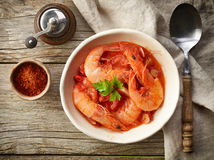 Bowl Of Tomato And Shrimp Soup Royalty Free Stock Image