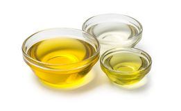 A bowl of oil on white background. With clipping path Royalty Free Stock Image