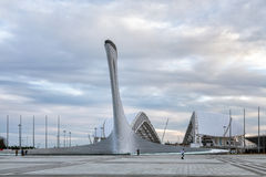 Bowl Olimpic Flame And Fischt Stadium In Sochi. Russia Royalty Free Stock Photo