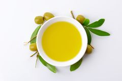 Bowl of olive oil Stock Photography