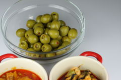 Bowl of olives and tapas Royalty Free Stock Image