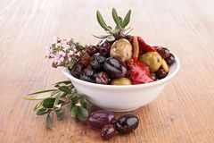 Bowl with olives Royalty Free Stock Photo