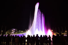 Bowl of the Olympic flame in Sochi. In the light of night lights and a musical fountain Royalty Free Stock Photos