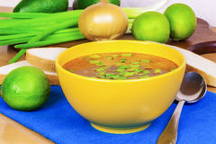 Bowl of onion soup with spring onion on a table Royalty Free Stock Image