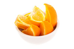 Bowl of orange slices Stock Image