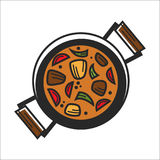 Bowl with orange soup. Vector illustration of orange colored soup bowl from above Stock Photo